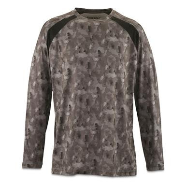 Guide Gear Men's Performance Fishing Long Sleeve Shirt, Black Fish Camo