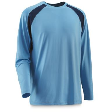 Guide Gear Men's Performance Fishing Long Sleeve T-Shirt, Light Blue