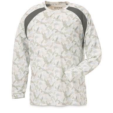 Guide Gear Men's Performance Fishing Long Sleeve T-Shirt, White Fish Camo