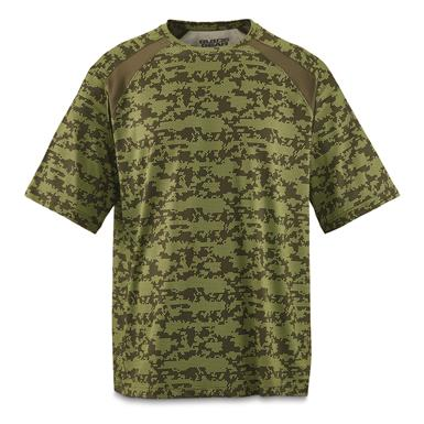 Guide Gear Men's Performance Fishing Short Sleeve Shirt, Green Hex Print
