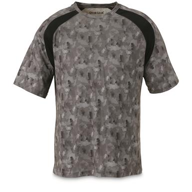 Guide Gear Men's Performance Fishing Short Sleeve T-Shirt, Black Fish Camo