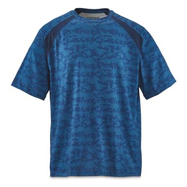 Guide Gear Men's Performance Fishing Short Sleeve Shirt, Blue Hex
