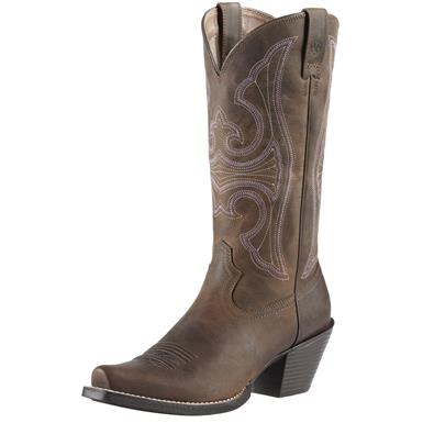 Women's Ariat Round Up D Toe Cowgirl Boots, Distressed Brown