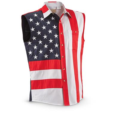 Scully Men's Americana Stars and Stripes Sleeveless Shirt, Red
