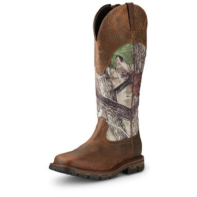 Ariat Men's Conquest H2O Snake Boots, Side Zip, Waterproof, Earth / Camo
