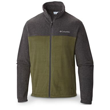 Columbia Men's Steens Mountain Full Zip 2.0 Fleece Jacket, Charcoal Heather / Surplus Green