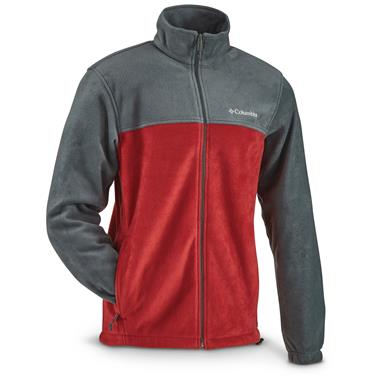 Columbia Men's Steens Mountain Full Zip 2.0 Fleece Jacket, Deep Green / Red Element