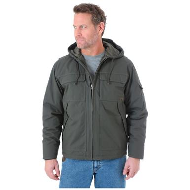 Wrangler Men's Hooded Ranger Water Resistant Jacket, Loden