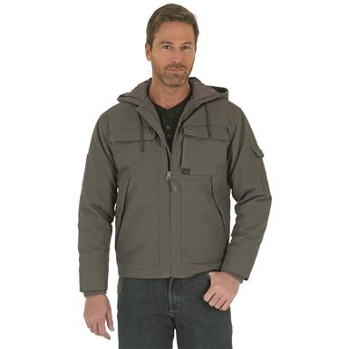 Wrangler Men's Hooded Ranger Water Resistant Jacket, Charcoal