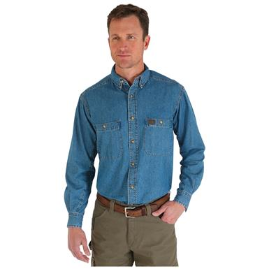 Wrangler RIGGS Workwear Men's  Denim Work Shirt, Antique