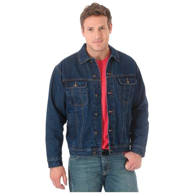 Wrangler Men's Sherpa Lined Denim Jacket, Denim