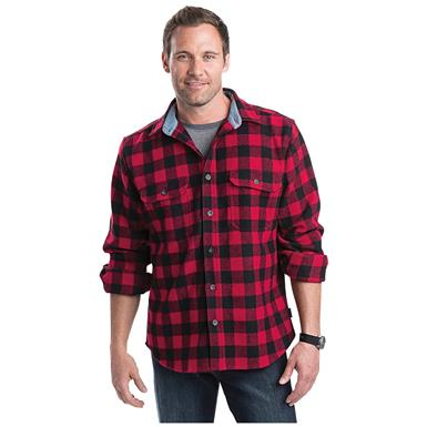 Woolrich Men's Buffalo Plaid Wool Shirt, Red / Black