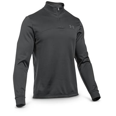 Under Armour Men's Icon Quarter Zip Fleece Shirt, Black / Stealth Gray