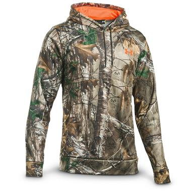 Under Armour Men's Franchise Camo Pullover Hoodie, Realtree Xtra / Blaze