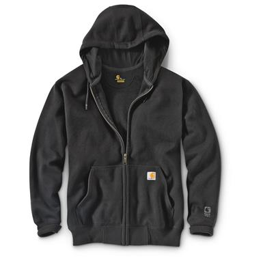 Carhartt Men's Rain Defender Paxton Heavyweight Hooded Zip Sweatshirt, Black
