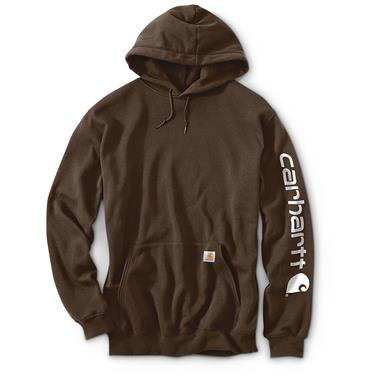 Carhartt Men's Signature Sleeve Logo Midweight Hooded Sweatshirt, Dark Brown