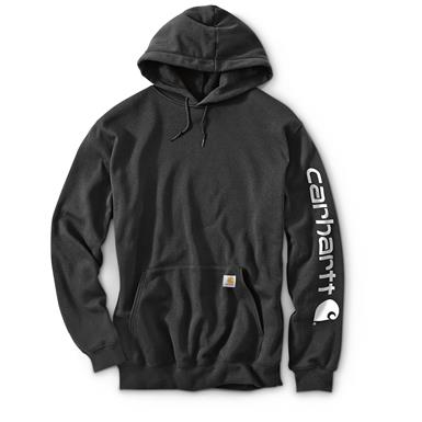 Carhartt Men's Signature Sleeve Logo Midweight Hooded Sweatshirt, Black