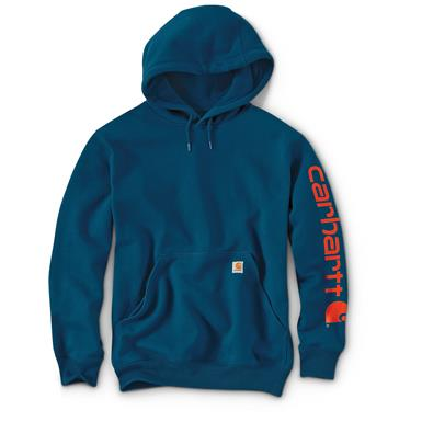 Carhartt Men's Signature Sleeve Logo Midweight Hooded Sweatshirt, Superior Blue