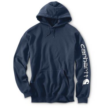 Carhartt Men's Signature Sleeve Logo Midweight Hooded Sweatshirt, New Navy