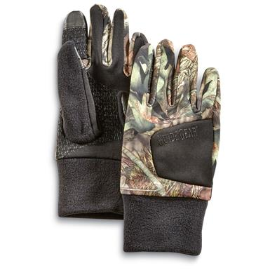 Guide Gear Men's Stretch Fleece Hunting Gloves, Mossy Oak Break-Up Country