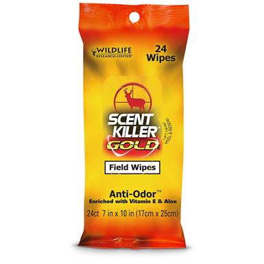 Scent Killer Gold Field Wipes, 24 Count