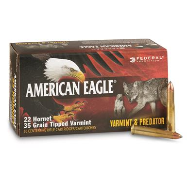 Federal American Eagle Varmint and Predator, 22 Hornet, Tipped Ammo, 35 Grain, 50 Rounds