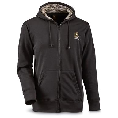 U.S. Army Full Zip Fleece Tactical Sweatshirt, Black