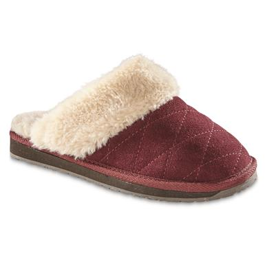 Guide Gear Women's Quilted Scuff Slippers, Burgundy