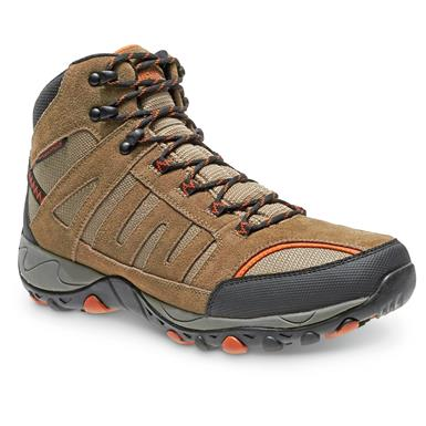 Wolverine Men's Grayling Mid Waterproof Hiking Boots, Taupe / Orange
