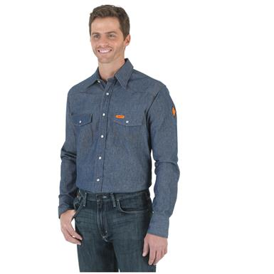 Wrangler Men's Flame Resistant Denim Shirt, Indigo