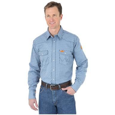 Wrangler Men's Flame Resistant Plaid Shirt, Navy