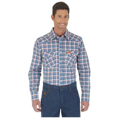 Wrangler Men's Western Flame Resistant Plaid Shirt, Red