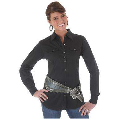 Wrangler Women's Western Riding Shirt, Black