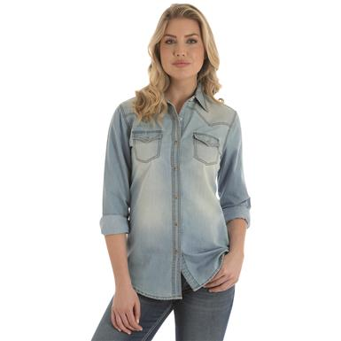 Wrangler Premium Long Sleeved Denim Shirt, Light Denim