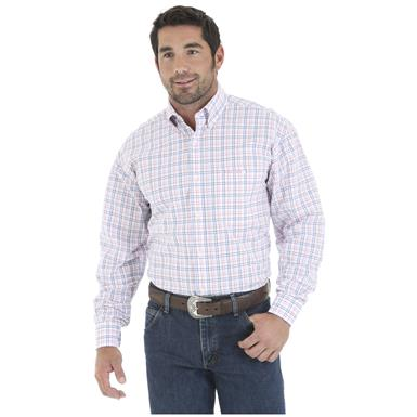 Wrangler Tough Enough to Wear Pink Men's Long Sleeve Poplin Plaid Shirt, Pink