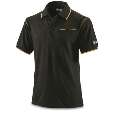 JCB Military Contractor Workwear Pocket Polo Shirt, New, Black