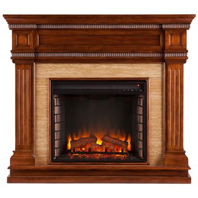 Southern Enterprises Faircrest Electric Fireplace, Oak Saddle