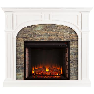Southern Enterprises Tanaya Stacked Stone Fireplace, White