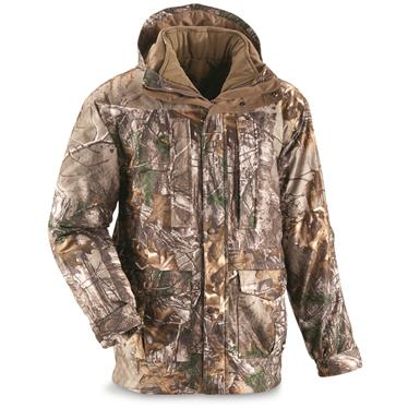 Guide Gear Steadfast 4-in-1 Hunting Parka, 150 Gram Thinsulate Platinum with X-Static, Waterproof, Realtree Xtra