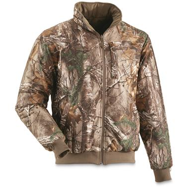 Wear the liner jacket alone with camo side out, Realtree Xtra