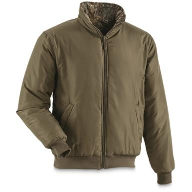 Wear the liner jacket alone with green side out, Realtree Xtra