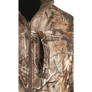 Zippered chest pocket on camo side of liner jacket, Realtree Xtra