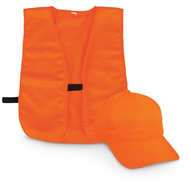 Outdoor Cap Co. Blaze Orange Vest and Cap Combo, Blaze