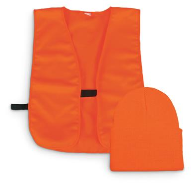 Outdoor Cap Co. Blaze Orange Vest and Knit Hat Combo, Blaze