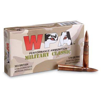 Wolf WPA Military Classic, .303 British, FMJ, 174 Grain, 20 Rounds