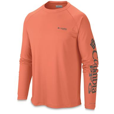 Columbia Men's PFG Terminal Tackle Long Sleeve Shirt, Bright Peach/Grill