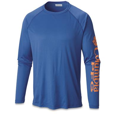 Columbia Men's PFG Terminal Tackle Long Sleeve Shirt, Vivid Blue/Jupiter