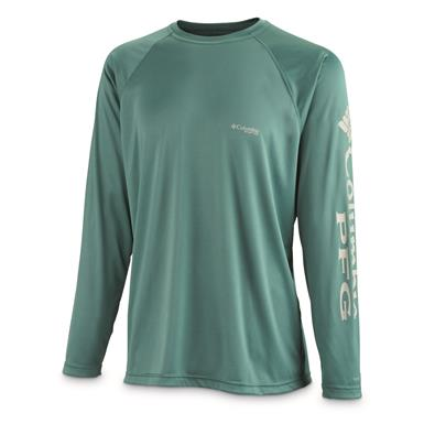 Columbia Men's PFG Terminal Tackle Long Sleeve Shirt, Thyme Green/Gray Logo