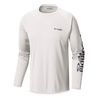 Columbia Men's PFG Terminal Tackle Long Sleeve Shirt, White/Nightshade