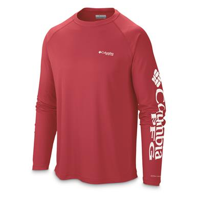 Columbia Men's PFG Terminal Tackle Long Sleeve Shirt, Sunset Red/White